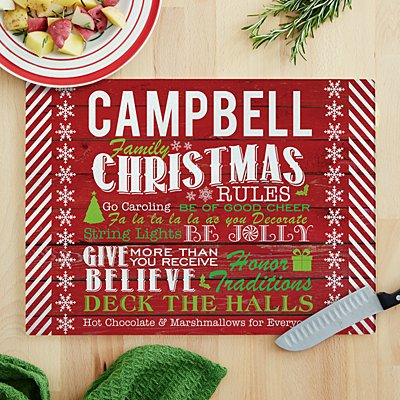 Family Christmas Rules Glass Cutting Board