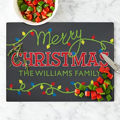 String of Lights Christmas Chopping Board