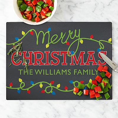 String of Lights Christmas Cutting Board