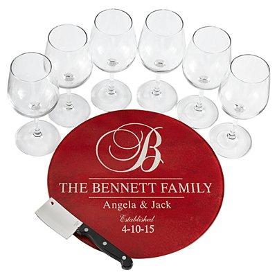 8pc Decorative Wine Service Set - Burgundy