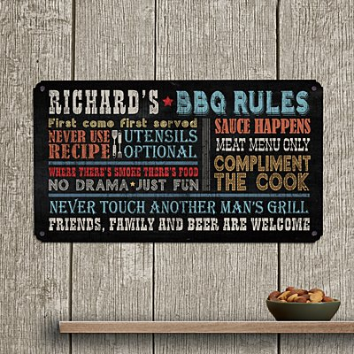 Rules for Great Grilling Metal Sign