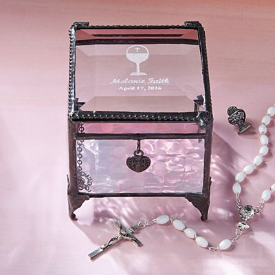 Holy Communion Glass Keepsake Box