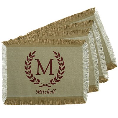 Rustic Country Placemat - Burgundy - Set of 4