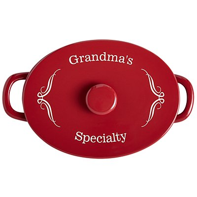 Red Ceramic 4qt Oval Casserole Dish - Any Message