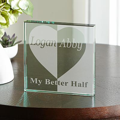 Better Half Glass Keepsake Block