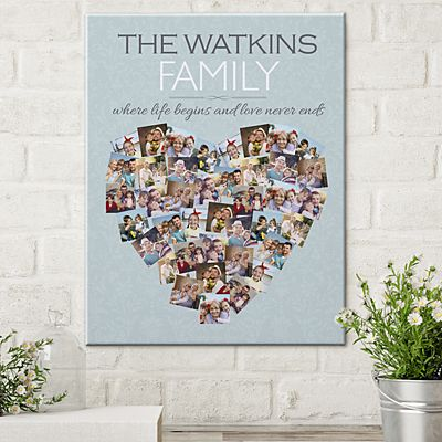 Family Photo Heart Canvas