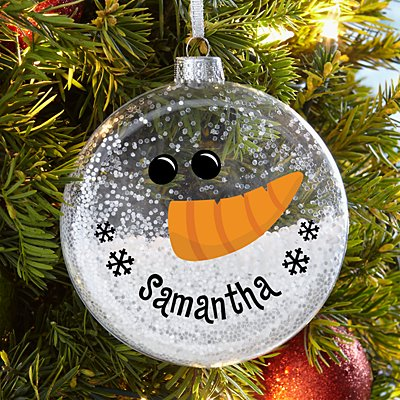 Smiling Snowman Glitter Glass Ornament
