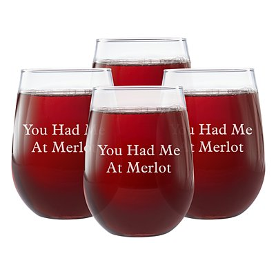 Create Your Own Stemless Wine Glass-Block Message-Set of 4