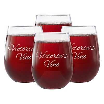 Create Your Own Stemless Wine Glass-Script Message-Set of 4