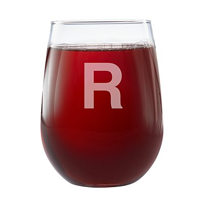 Create Your Own Stemless Wine Glasses-Block Initial-Single Glass