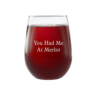 Create Your Own Stemless Wine Glass-Block Message-Single Glass