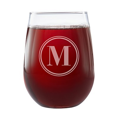 Create Your Own Stemless Wine Glasses-Circle Initial-Single Glass