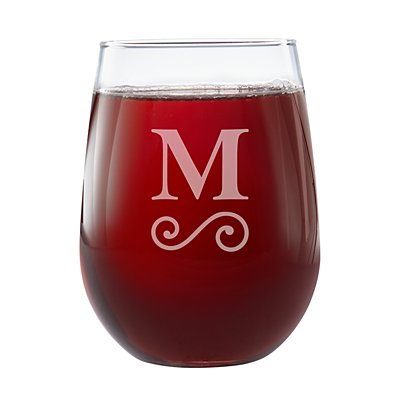 Create Your Own Stemless Wine Glass-Swirl Initial-Single Glass
