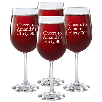Create Your Own Stemware Wine Glass - Set of 4 - Message - Block