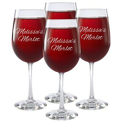 Create Your Own Stemware Wine Glass - Set of 4 - Message - Script