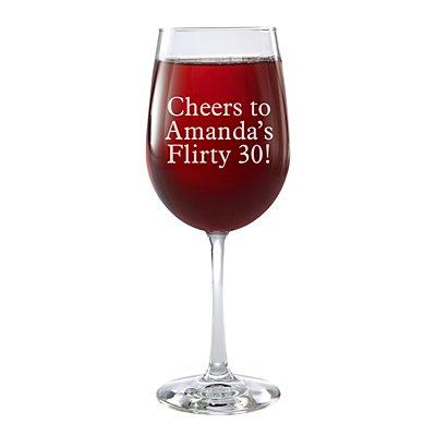 Create Your Own Stemware Wine Glass - Single - Message - Block