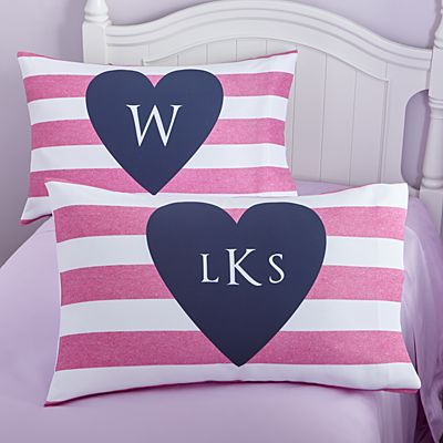 I Heart Stripes Pillowcase
