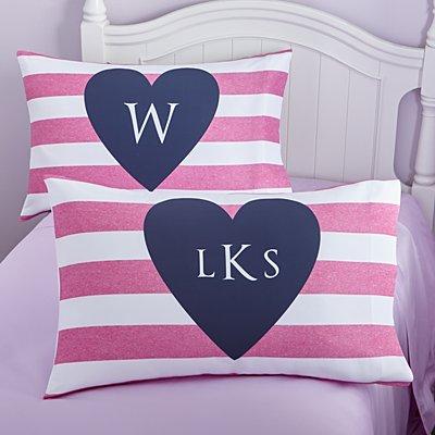 I Heart Stripes Pillowcase