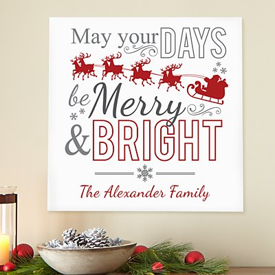 Merry & Bright Square Wood Plaque