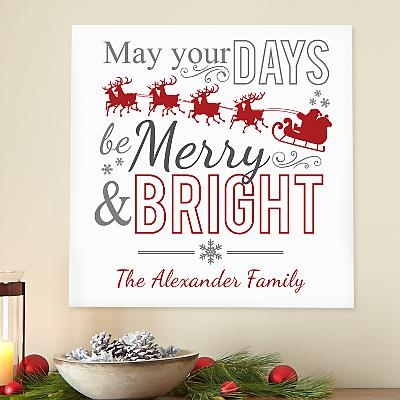 Merry & Bright Square Wood Plaque