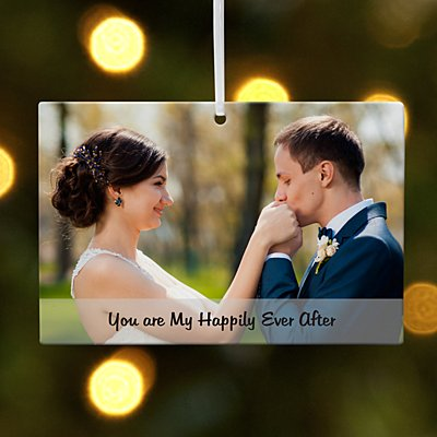 Photo Message Rectangle Couple Ornament