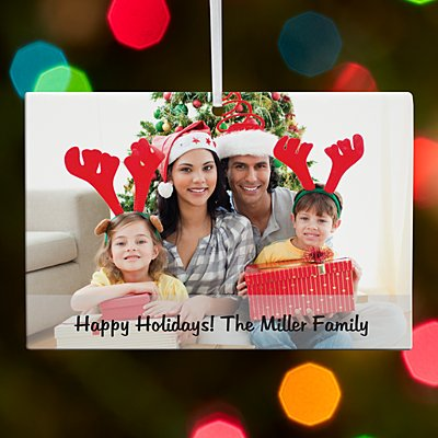 Picture Perfect Photo with Message Rectangle Ornament