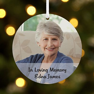 Memorial Photo Message Round Ornament