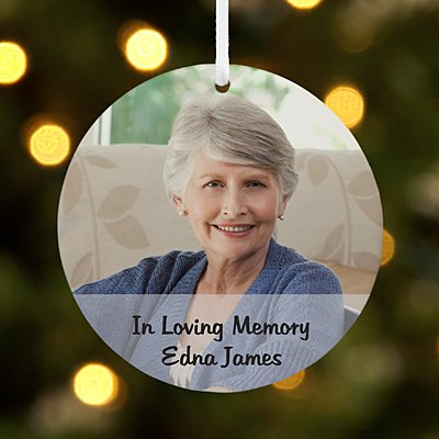 Picture Perfect Memorial Photo Message Round Ornament