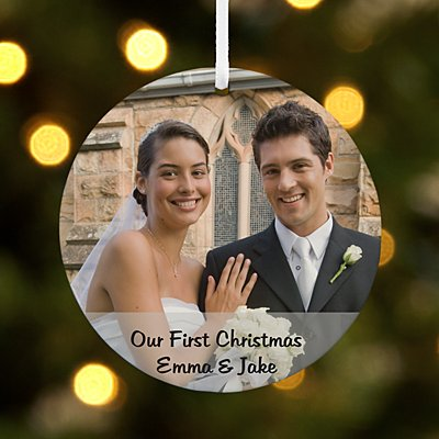 Picture Perfect Couple Photo Message Round Ornament