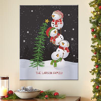 Lovable Snowman Canvas