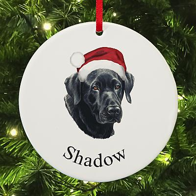 Black Lab Round Bauble