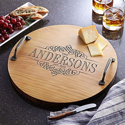 Decorative Family Name Wood Barrel Tray