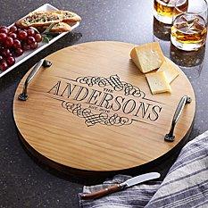 Decorative Family Name Wood Barrel Tray