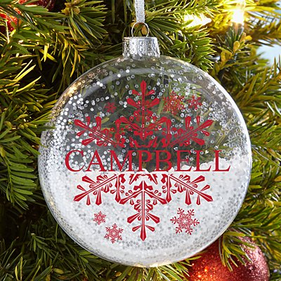 Elegant Snowflake Glitter Glass Ornament