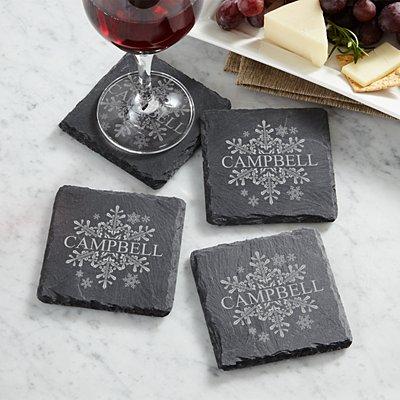 Elegant Snowflake Slate Coasters