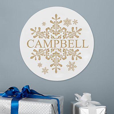 Elegant Snowflake Circle Wood Plaque