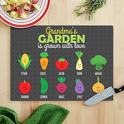 Garden Full Of Love Glass Chopping Board