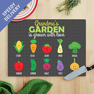 Garden Full Of Love Glass Chopping Board