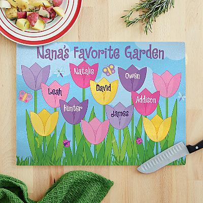 Tulip Garden Glass Cutting Board