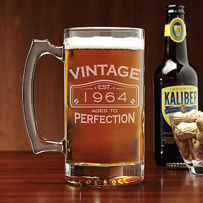Classic Vintage Birthday Beer Glass