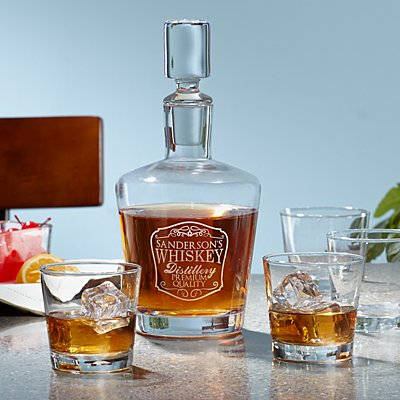 5 Piece Whiskey Decanter Glass Set