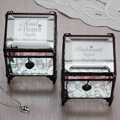 Bridal Party Glass Keepsake Box