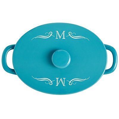 Teal Ceramic 4qt Oval Casserole Dish - Initial