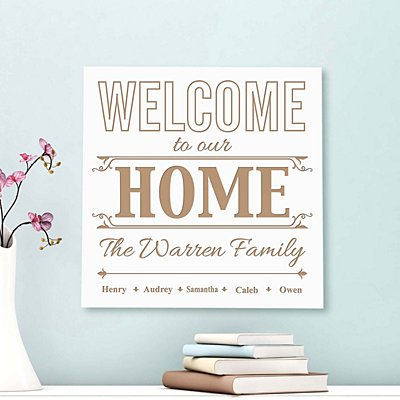 Welcome Home Square Wood Plaque