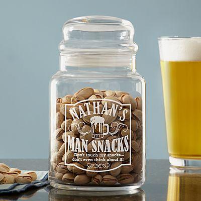 Man Snacks Treat Jar