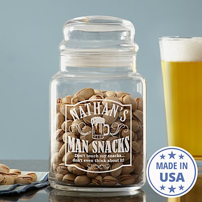 Man Snacks Treat Jar
