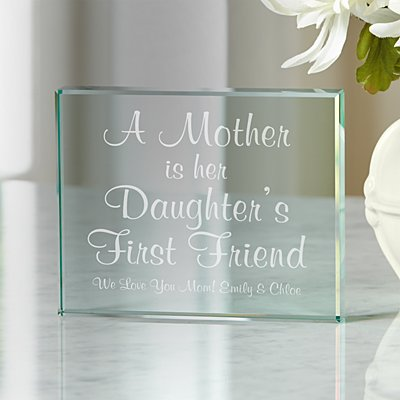 First Memories Glass Block for Mom