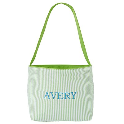 Embroidered Seersucker Easter Lime Green Tote