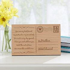 Sending My Love Wood Postcard