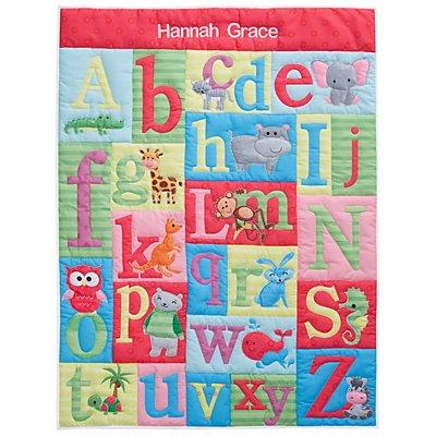 Animal Alphabet Pink Baby Quilt